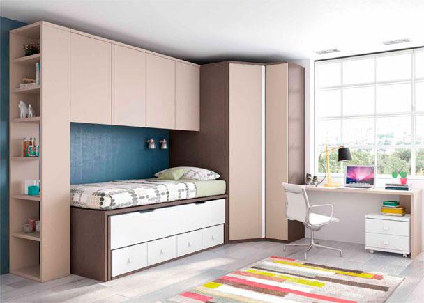<p>Juvenil con compacto de 4 cajones y cama deslizante. El ambiente se completa con un escritorio de sobre recto, un armario rincón, altillo y terminal</p>