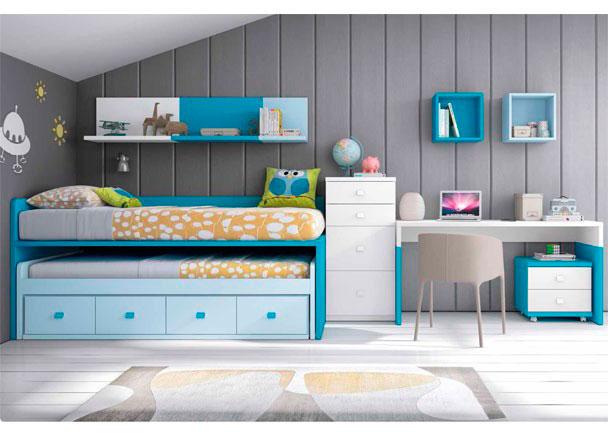 <p>Dormitorio Infantil, con compacto de 4 contenedores y cama deslizante de frente abierto + Escritorio de sobre recto de 151 cm + composición mural</p>