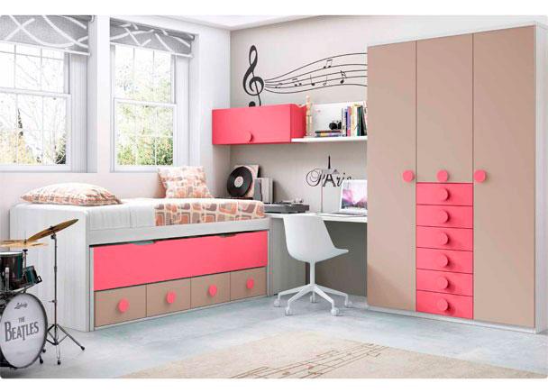<p>Habitación Juvenil con compacto de 4 cajones con deslizante. Dispone de un Arcón de puerta extraíble, Armario con sinfonier de 6 cajones y escritorio.</p>
