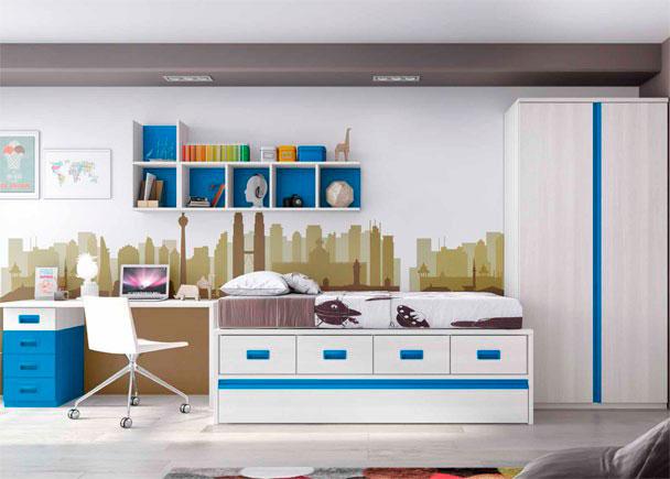 <p>Habitaci&oacute;n Infantil con cama compacta de 4 cajones cama nido inferior. El ambiente cuenta con un escritorio recto y un armario de 2 puertas.</p>