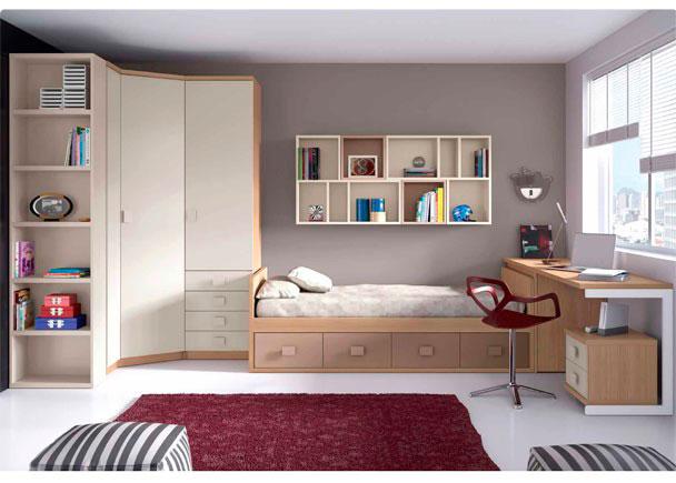<p>Dormitorio Juvenil con cama nido de 4 cajones, armario recto con sinfonier visto y armario rincón. Cuenta con arcón de puerta extraíble y escritorio recto.</p>