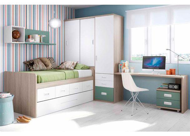 <p>Dormitorio Juvenil con cama compacta de 4 contenedores + Deslizante. Cuenta con armario con cajones y escritorio.</p>