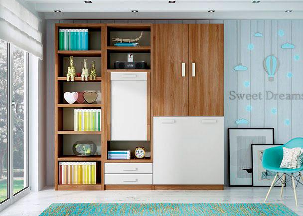 <p>Estudio con cama y escritorio plegables. El ambiente se completa con una librer&iacute;a de ancho fuelle que iguala la altura del resto de elementos.</p>