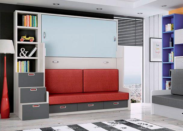 <p>&nbsp;Compacto con litera abatible horizontal y sof&aacute;. Las camas admiten colchones de 90 x 190 de m&aacute;ximo 15 cm de altura. El compacto cuenta con 3 cajones nido de su base. Medida: 208 x 105 F x 238.5 h. Junto a las camas se ha colocado una escalera con librer&iacute;a superior.</p>