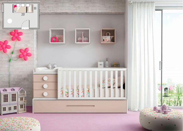 <p>Dormitorio Infantil con cuna convertible y base nido con somier de arrastre en colores Blanco y Tierra.</p>