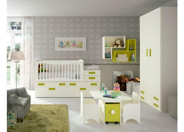 Dormitorio para el bebé equipado con Cuna convertible modelo COMPACT en tonos Nieve y Verde