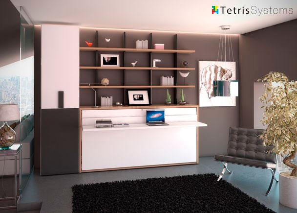"""<p><strong>Estancia con cama abatible y escritorio incorporado, armario de fondo 45 cm. y librer&iacute;a regulable.</strong></p><br /> <p><span style=""""text-decoration: underline;"""">Medidas totales de la composici&oacute;n</span>: 272 cm en la zona de la pared y con la cama cerrada 45 cm de fondo. La altura del conjunto es de 240 cm y la cama cuando abre desplaza 121 cm desde la pared.</p><br /> <p>Las estanter&iacute;as estan fomadas por columnas de la misma longitud que la cama abatible y gracias a los agujeros que llevan incorporadas las columnas, podemos ubicarlas a la altura que queramos.</p><br /> <p>El escritorio dispone de un fondo 45 cm y al abrir la cama, &eacute;ste mantiene la horizontalidad, pudiendo depositar objetos de no nucho volumen.<strong><br /></strong></p>"""