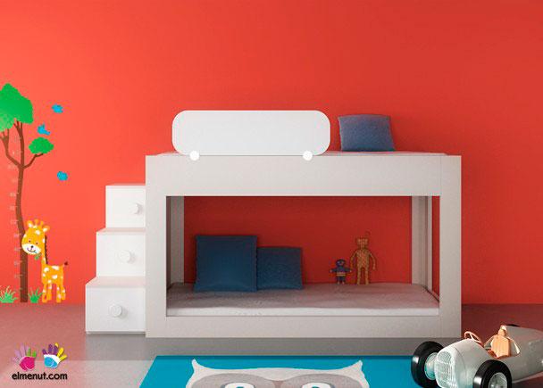Dormitorio infantil con litera baja, diseño de ElMenut.com para colchones de 200 x 100 x 115 h cm.