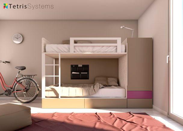 Dormitorio infantil con litera compacta con cajones y armario con barra extraible.