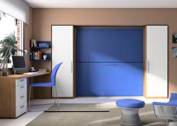Litera abatible Horizontal para somier de 90*190. Escalera incluída 2 Armarios 1 Puerta con estante y barra de colgar Mesa escritorio Cajonera 2 Estantes
