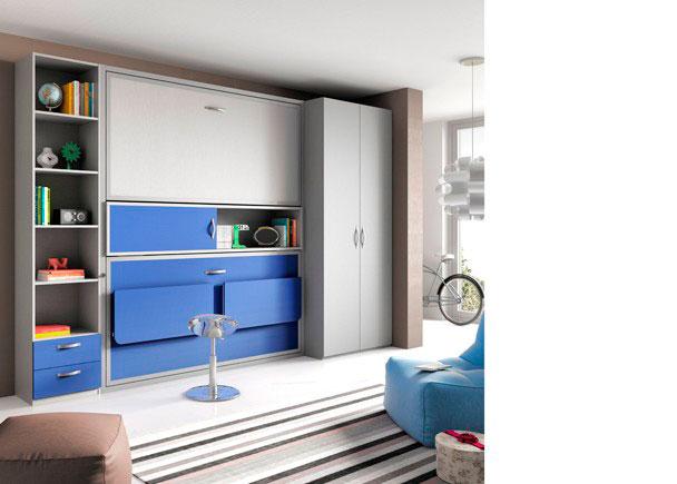 <p>Habitación juvenil equipada con unas abatibles con escritorio plegable, un armario de un metro de ancho x 240 de altura y una estantería de 50 cm con cajones vistos en la parte inferior.</p>