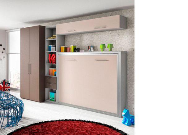 Estudio equipado con una cama abatible horizontal para colchón de 135 x 190 + Librería con estantes y dos cajones y armario recto de 2 puertas.