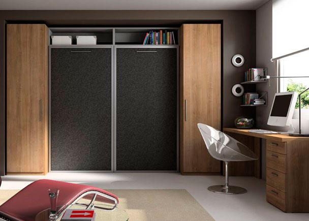 <p>Dormitorio Estudio Juvenil 2 Camas abatibles verticales con altillo. Para somier de 90*190 2 Armarios 1 Puerta con altillo y barra de colgar. Mesa escritorio con cajonera</p>