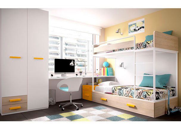 <p>Habitación Infantil con Litera alta con hueco libre inferior con Estante + Escritorio con Ruedas.</p>