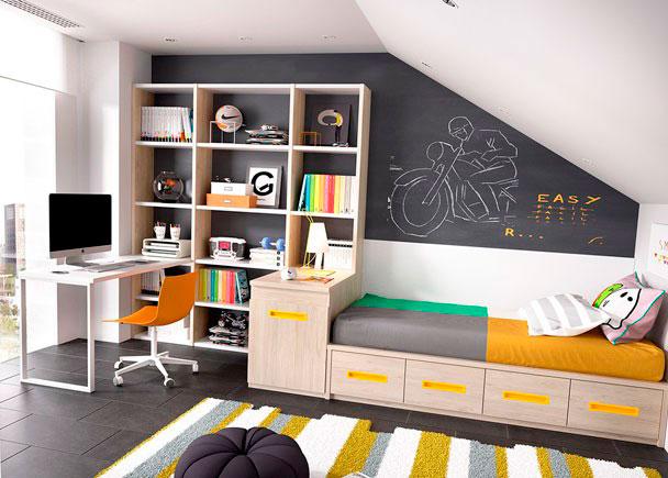 <p>Dormitorio&nbsp;Juvenil equipada a base de elementos modulares y apilables.<br />Los elementos que integran la presente composici&oacute;n son los siguientes:&nbsp;<br />-Pata met&aacute;lica de apoyo para escritorio modelo QUADRO. Medidas: 55,5 F x 72 h x 4 cm de espesor. (Color Blanco)&nbsp;<br />-Montante para componer estanter&iacute;as. <br />Medidas: 220 x 28,6 F x 3 cm de espesor.&nbsp;<br />-Montante para componer estanter&iacute;as.<br />Medidas: 154 x 28,6 F x 3 cm de espesor.<br />-Estante expositor para montantes. <br />Medidas: 54 x 28 F x 3 cm de espesor.&nbsp;<br />-Estante expositor para montantes. <br />Medidas: 80 x 28 F x 3 cm de espesor.&nbsp;<br />-Arc&oacute;n zapatero con ruedas. Medidas: 55 x 72 h x 102,6 F<br />-Sobre Recto para arcones de 55 fondo. <br />Medidas: 104,6 x 57 F&nbsp;<br />-M&oacute;dulo nido para colch&oacute;n de 90 x 190 con base de 4 contenedores. Medidas: 201,4 x 102,6 F x 33 h&nbsp;<br />-Cabezal Liso de 202 cm<br />-Sobre mesa estudio de 202 x 57 F x 3 cm de espesor <br />(con escotadura para ajustar a pilar)&nbsp;</p>