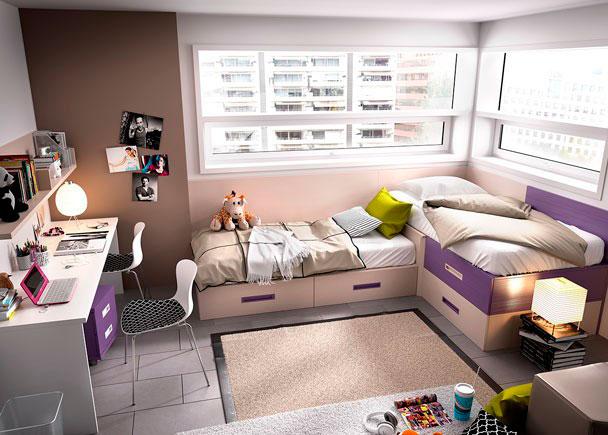 Habitación Juvenilequipada a base de elementos modulares y apilables.Los elementos que integran la presente composición son los siguientes:&