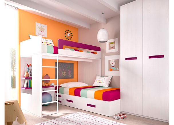 <p>Litera Block derecha con base de tarima, para colchón de 90 x 190 + cama modular + armario</p>