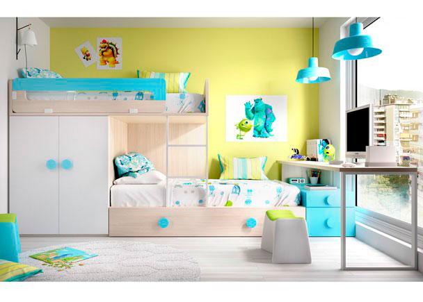 Habitación Infantil con camas tipo Tren con apoyo de 1 modulo Block de 2 puertas + Cama Nido con arrastre (90 x 190) + Escritorio de 202 cm