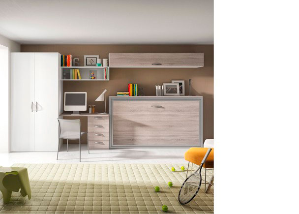 Dormitorio juvenil con Cama abatible horizontal con armario de 2 puertas y zona estudio con escritorio y cajones.