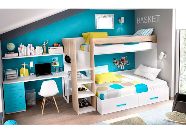 <p>Habitación Infantil con Litera Maxi + cama inferior de 135 cm con arcón elevable.</p>
