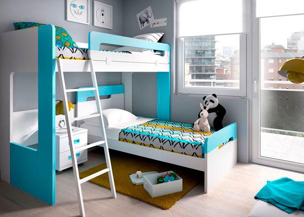 <p>Litera alta exenta modelo DUAL para colchón de 90 x 190. Medida: 201 x 166,2 x 100,2 F. Altura libre inferior: 123 cm.</p>