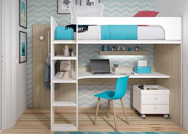 <p>Este ambiente corresponde a una habitación infantil equipada con una litera alta para colchón de de 90 x 190 y zona de estudio en la parte inferior.</p>
