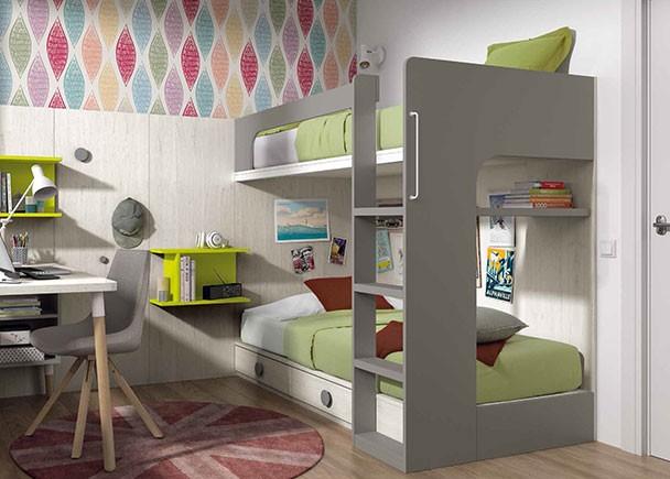 <p>Dormitorio infanti con litera para dos camas de 90 x 190 con cajones en la parte inferior y escalera integrada.</p>
