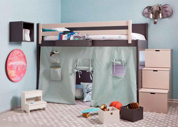 Litera Loft lisa con friso para colchón de 90 x 200 con barandilla quitamiedos de 194 cm y tela TIPI para aprovechar el espacio inferior a modo de caba&n