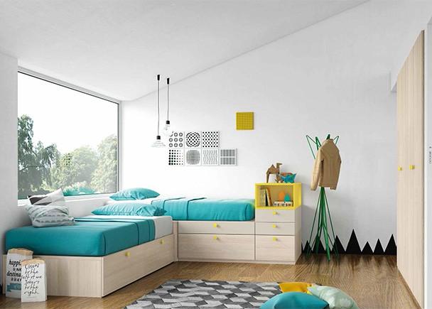 <p>Dormitorio juvenil de linea modular, equipado con dos camas en L, compuestas a base de modulos de cajones con guías, tanto base como apilables.</p>