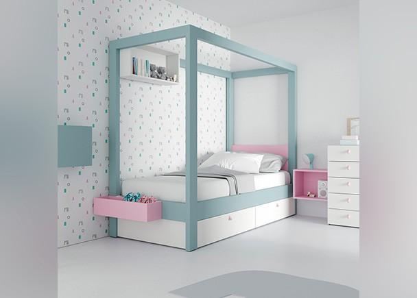 <p>Dormitorio infantil equipado con una cama con dosel con base nido de dos cajones. Este dise&ntilde;o ha sido pensado para las ni&ntilde;as se sientan como unas verdaderas princesas. El ambiente se completa con un sinfonier, un secreter y unos m&oacute;dulos de pared en diferentes formatos.</p>
