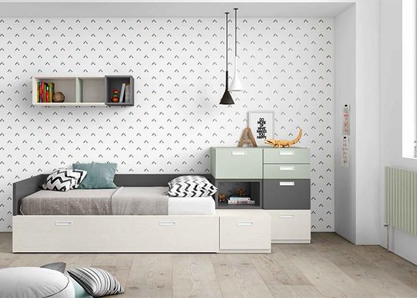 <p>Habitaci&oacute;n juvenil equipada con elementos modulares base y apilables, entre los que destaca la cama con arrastre nido.</p>
