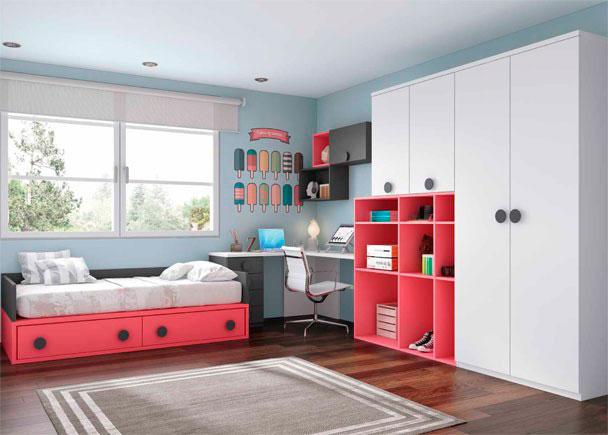 <p>Dormitorio juvenil con compacto de dos cajones. La mesa es un amplio escritorio angular con composici&oacute;n mural y zona de armarios con librer&iacute;a asim&eacute;trica.</p>