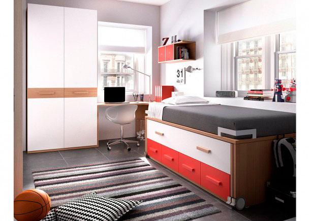 Habitación Juvenil equipada a base de elementos modulares y apilables. Los elementos que integran la presente composición son los siguientes:-Arma