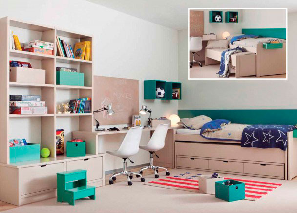 Habitación juvenil de alta calidad con nido móvil para colchón de 90 x 200. Dispone de una cama deslizante con ruedas y una base de 3 cajon