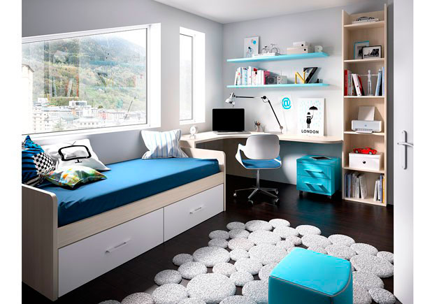 Habitación Juvenilequipada con cama nido con forma y base de dos baúles.Los elementos que integran la presente composición son los si