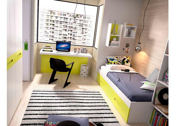 <p>Habitación Juvenilcon una cama nido cuya base son 2 grandes baúles contenedores.<br />Además cuenta con un novedoso escritorio de 120 cm (modelo DOWN) con panel inferior.</p> <p></p> <p>Los elementos que integran la presente composición son los siguientes:</p> <p></p> <p>-Armario Recto de 2 Puertas con paneles combinables. Medidas: 90 x 220 h x 60 F.<br />-Mesa de estudio modelo DOWN. Medidas: 120 x 57 F x 77 h x 5 cm de espesor. <br />(Soportes de color blanco)<br />-Nido modelo SMALL para colchón de 90 x 190 con base de dos baúles. <br />Medidas: 199 x 99 F x 42 h. (29 cm h cajones + 12 cm bastidor recto). <br />No incluye somier. Valoración en apunte separado.<br />-Cubo colgante diáfano modelo OPEN. Medidas: 33 x 33 x 26,8 F.<br />-Módulo colgante modelo OPEN de 2 Huecos (Vertical). <br />Medidas: 33 x 64,1 h x 26 F</p>