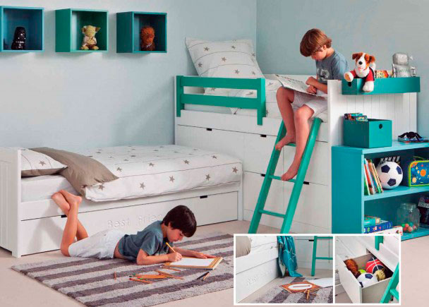<p>Habitaci&oacute;n infantill con tres camas, realizada con un sistema modular de alta calidad fabricado en madera de haya con lacas texturadas.</p>