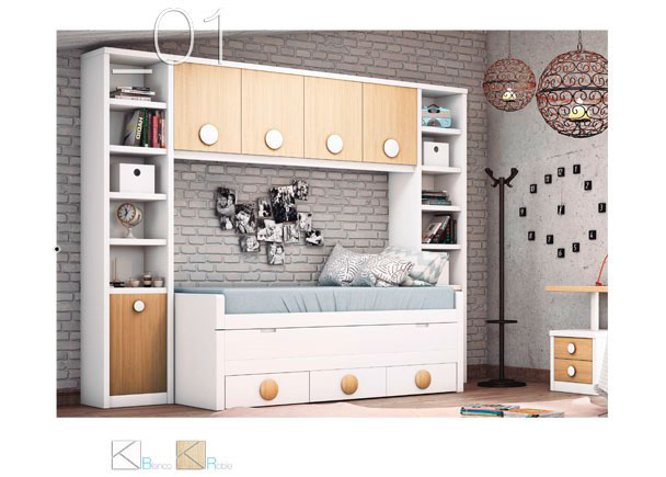 <p>Compacto de dos camas con deslizante y base de 3 cajones, 2 librer&iacute;as laterales (una con puerta y otra con cajones) m&aacute;s un altillo de 4 puertas.</p>