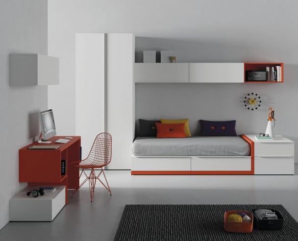 <p>Habitaci&oacute;n juvenil con cama nido de cajones, armario y escritorio.</p>