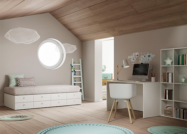 <p>Habitaci&oacute;n infantil equipada con una pr&aacute;ctica cama modular para colch&oacute;n de 90 x 190. Esta cama es el resultado de la evoluci&oacute;n de una cuna convertible, que contempla tres etapas de uso, gracias a la versatilidad de los elementos que la componen.</p>