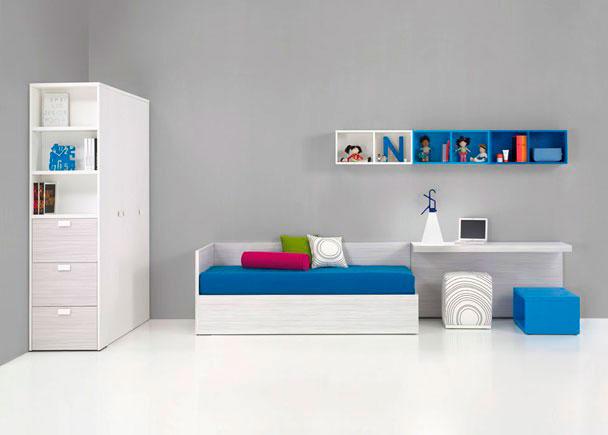 <p>Dormitorio Juvenil con Armario, Cama canap&eacute;, Mesa estudio, Armario 3 Puertas y terminal estanteria con zapatero.</p>