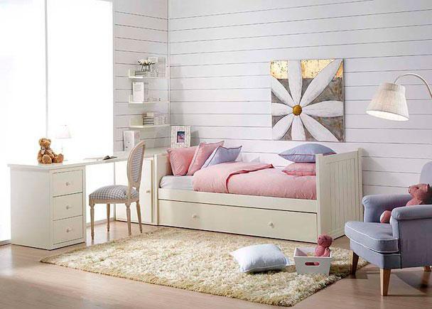 Dormitorio Juvenil con cama nido Lacado blanco La mesa de estudio se fabrica a medida. Opción de arcón extraible.