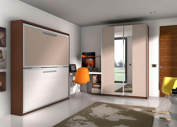 Habitación juvenil con cama abatible con cantos metálicos, mesa de estudio según medidas del cliente y armario de puertas con espejo.
