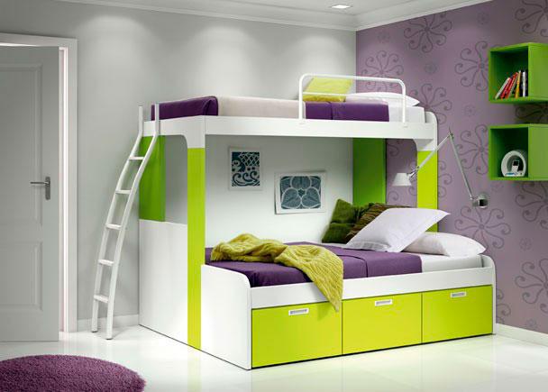 Dormitorio juvenil con litera century plus con escalera de 149x202, cama superior de 90x190 e inferior de 135x190 con cajones.