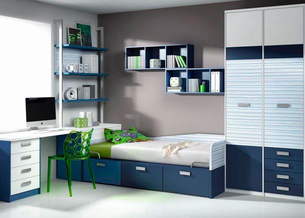 <p>Dormitorio infantil con cama compacta de 3 cajones contenedores, Armario, Cubos, Estanter&iacute;as y Mesa de estudio con cajones y forma.</p>