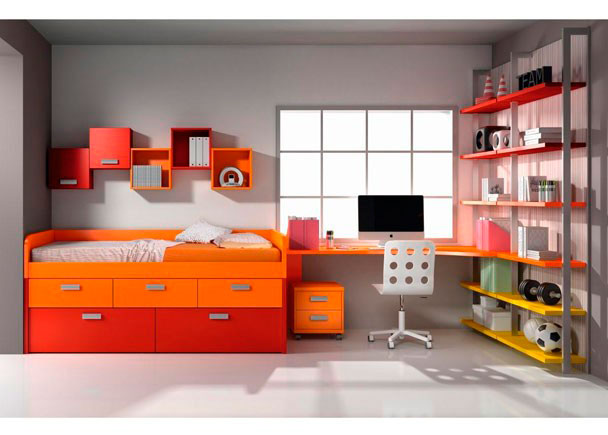 Dormitorio infantil compuesto de cama compacta de 3 cajones + 2 cajones contenedores, mesa, estantería, cubos y cajonera.