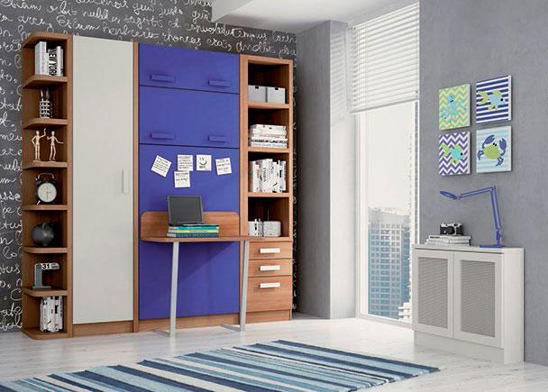 <p>Habitación infantil con cama abatible vertical para colchon de 90 x 190 con escritorio. La cama esta integrada en un mueble de 238,5 cm. de altura x 50 cm. de fondo.</p>