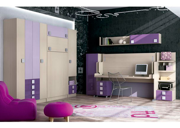 <p>Habitacion infantil con cama abatible vertical con armarios (pared izquierda) + armario de 3 puertas y dos contenedores con mesa extraible.</p>