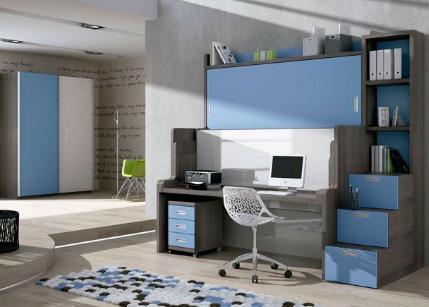 <p>Habitación infantil con Cama-Mesa-Litera abatible para colchones de 90 x 190 (tanto en la cama superior como en la inferior)</p>