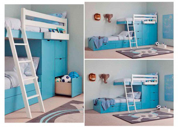 <p>Dormitorio infantil de estilo colonial realizado en color AZUL DELFIN. Está integramente fabricado en madera de haya y acabado con laca texturadas.</p>